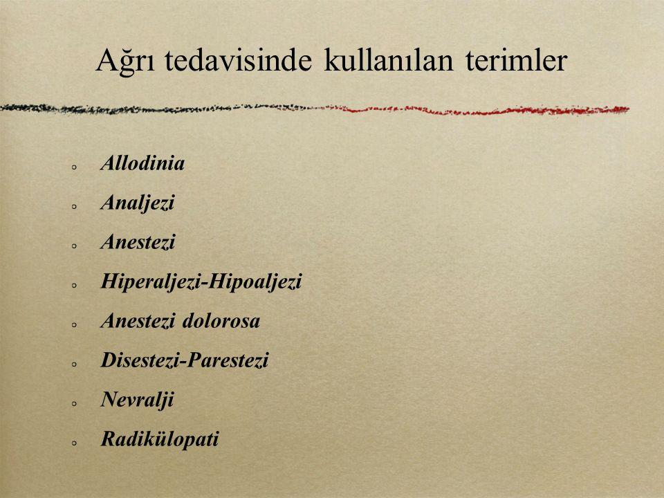 Ağrı tedavisinde kullanılan terimler