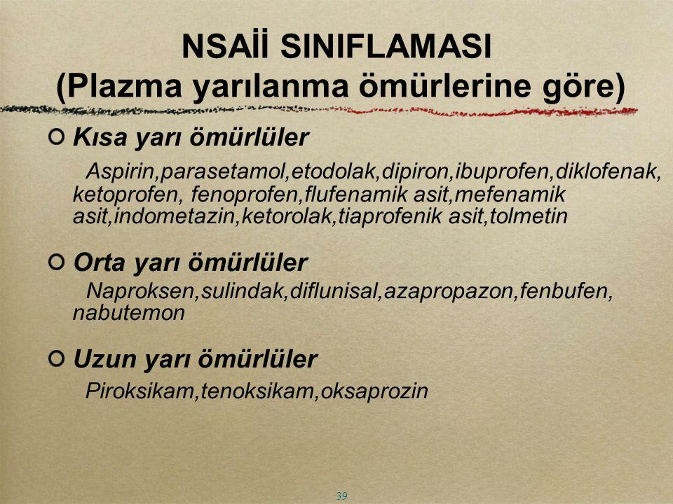 NSAİİ SINIFLAMASI (Plazma yarılanma ömürlerine göre)