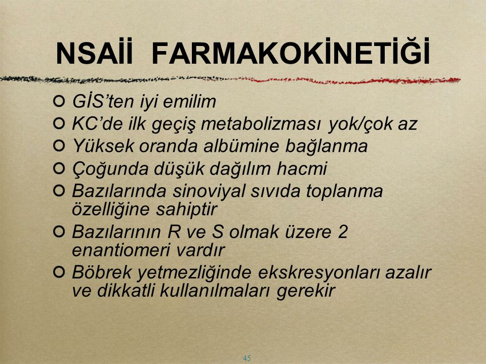 NSAİİ FARMAKOKİNETİĞİ