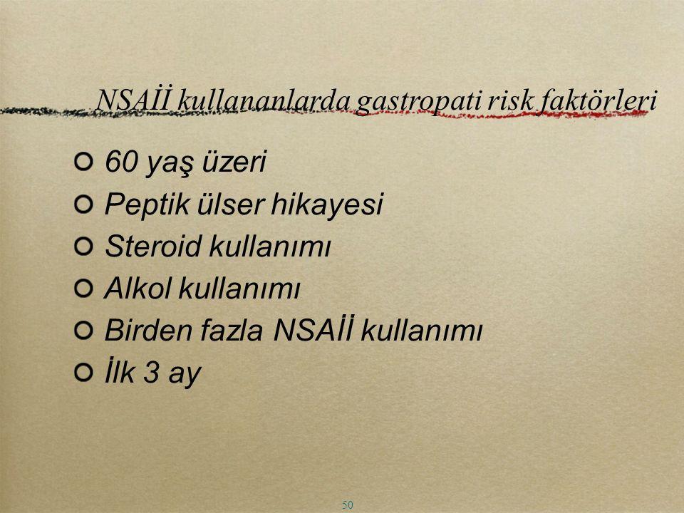 NSAİİ kullananlarda gastropati risk faktörleri