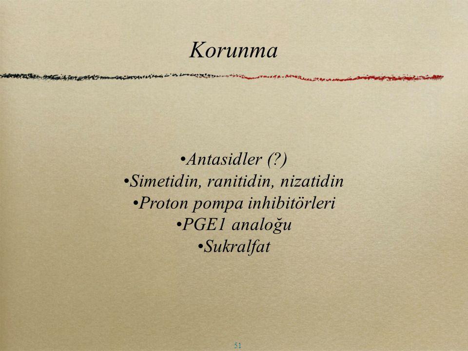 Korunma Antasidler ( ) Simetidin, ranitidin, nizatidin