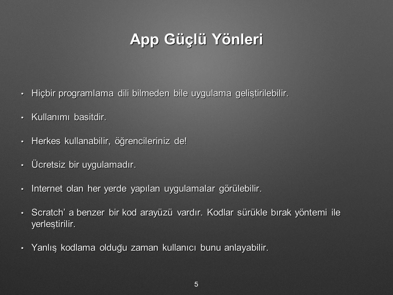 App Güçlü Yönleri Hiçbir programlama dili bilmeden bile uygulama geliştirilebilir. Kullanımı basitdir.