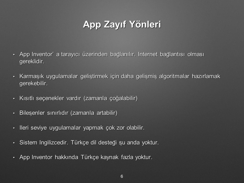 App Zayıf Yönleri App Inventor' a tarayıcı üzerinden bağlanılır. İnternet bağlantısı olması gereklidir.