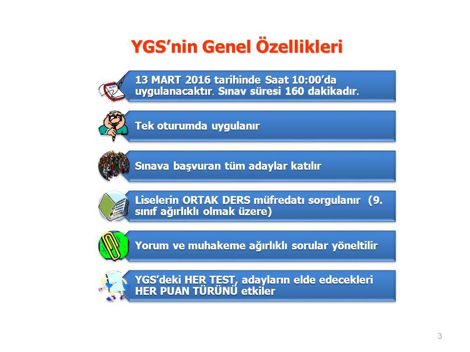 YGS'nin Genel Özellikleri
