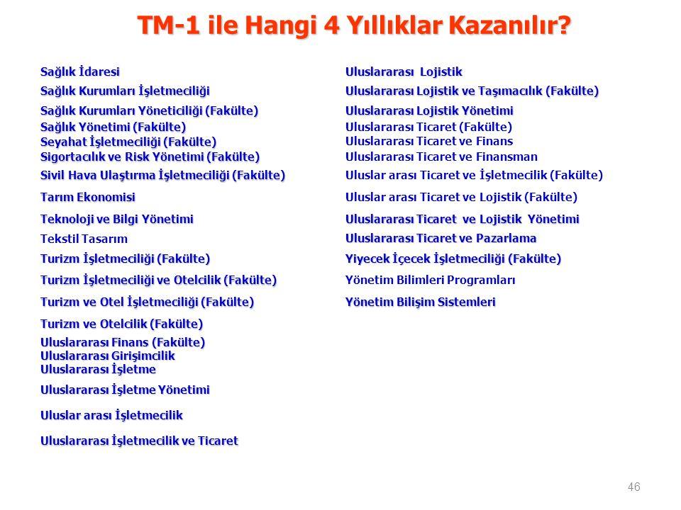 TM-1 ile Hangi 4 Yıllıklar Kazanılır