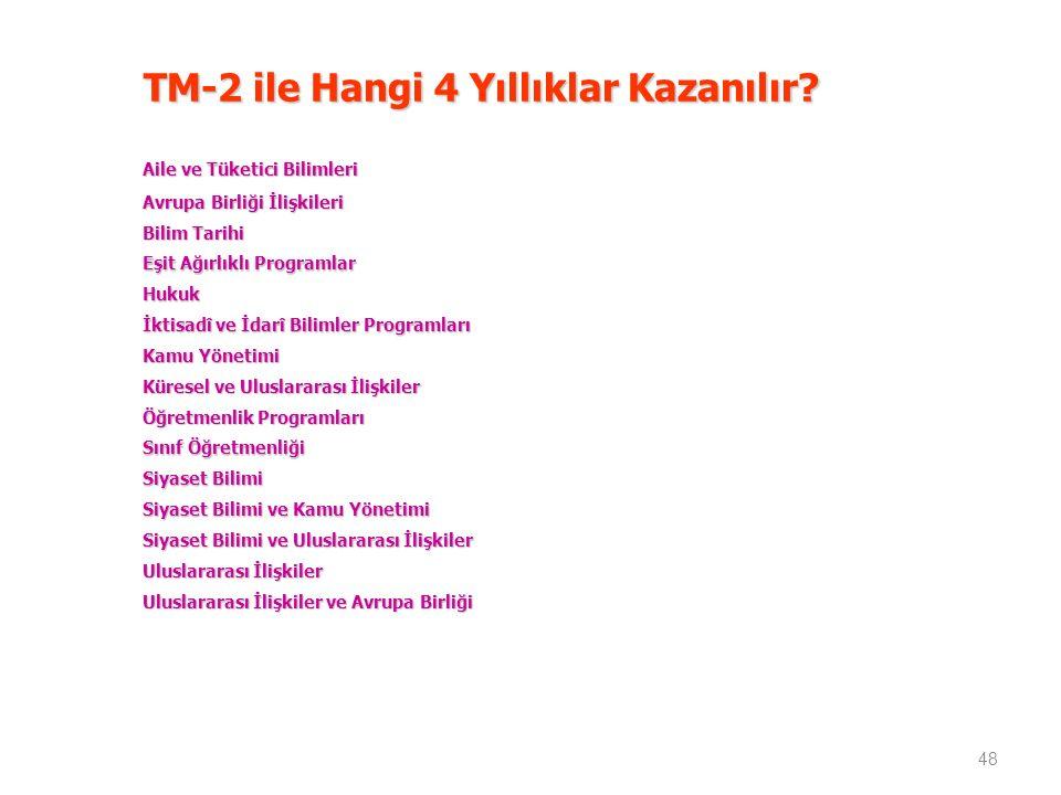 TM-2 ile Hangi 4 Yıllıklar Kazanılır