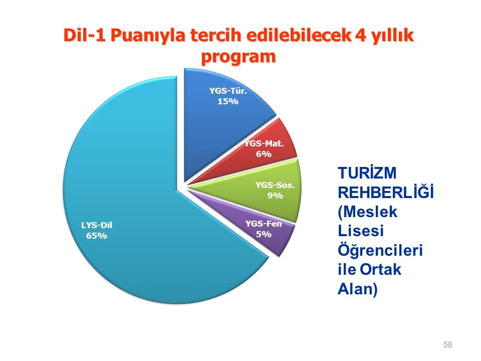 Dil-1 Puanıyla tercih edilebilecek 4 yıllık program