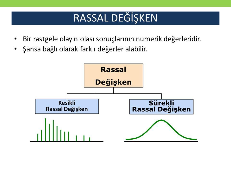 RASSAL DEĞİŞKEN Bir rastgele olayın olası sonuçlarının numerik değerleridir.