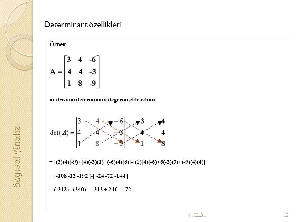 Sayısal Analiz Determinant özellikleri Örnek