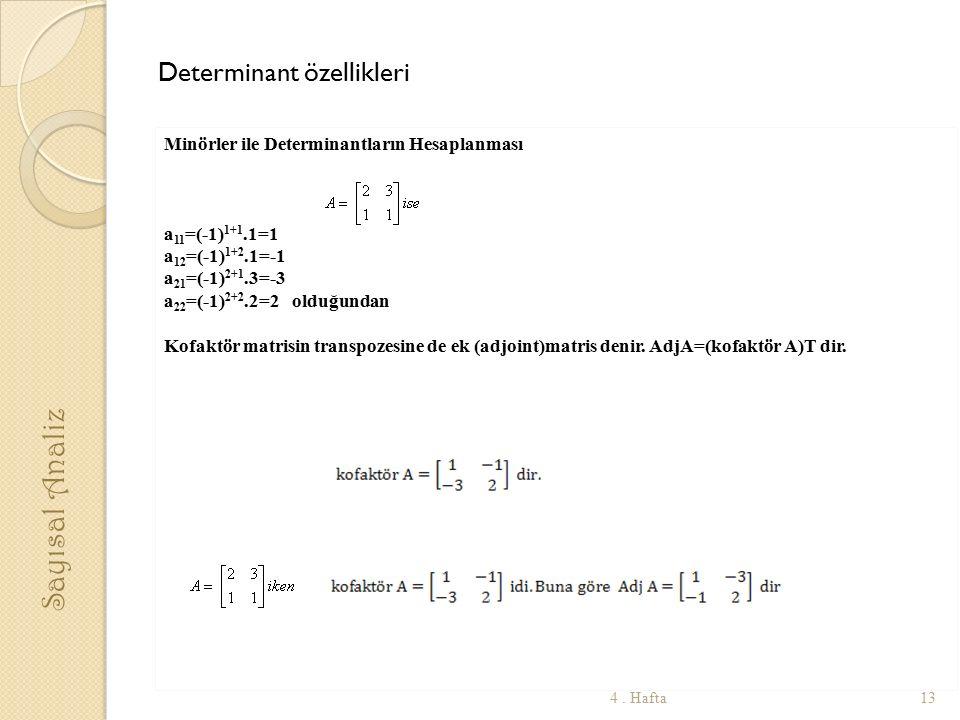 Sayısal Analiz Determinant özellikleri