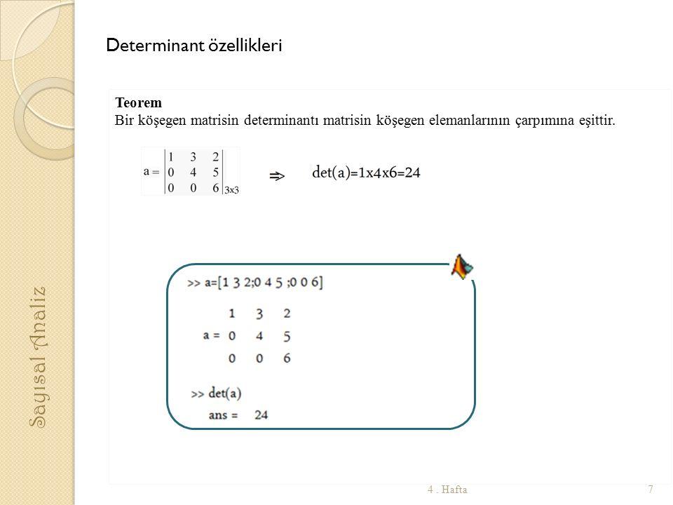 Sayısal Analiz Determinant özellikleri Teorem