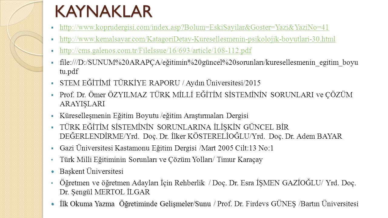 KAYNAKLAR http://www.koprudergisi.com/index.asp Bolum=EskiSayilar&Goster=Yazi&YaziNo=41.