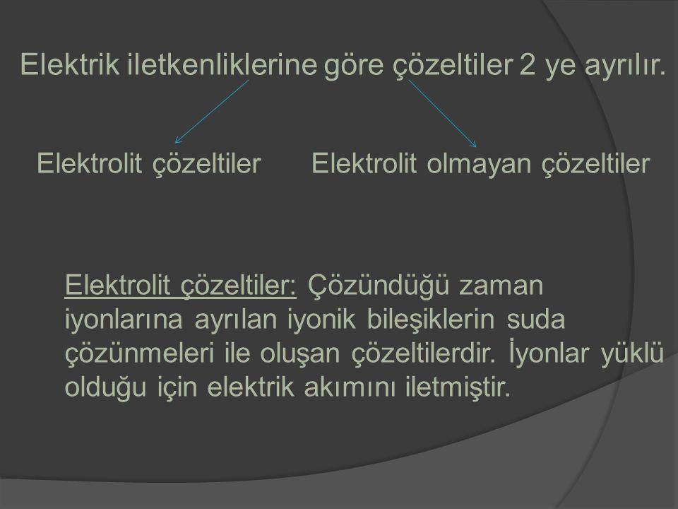 Elektrik iletkenliklerine göre çözeltiler 2 ye ayrılır.