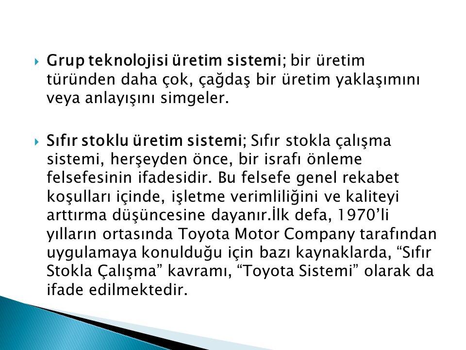 Grup teknolojisi üretim sistemi; bir üretim türünden daha çok, çağdaş bir üretim yaklaşımını veya anlayışını simgeler.