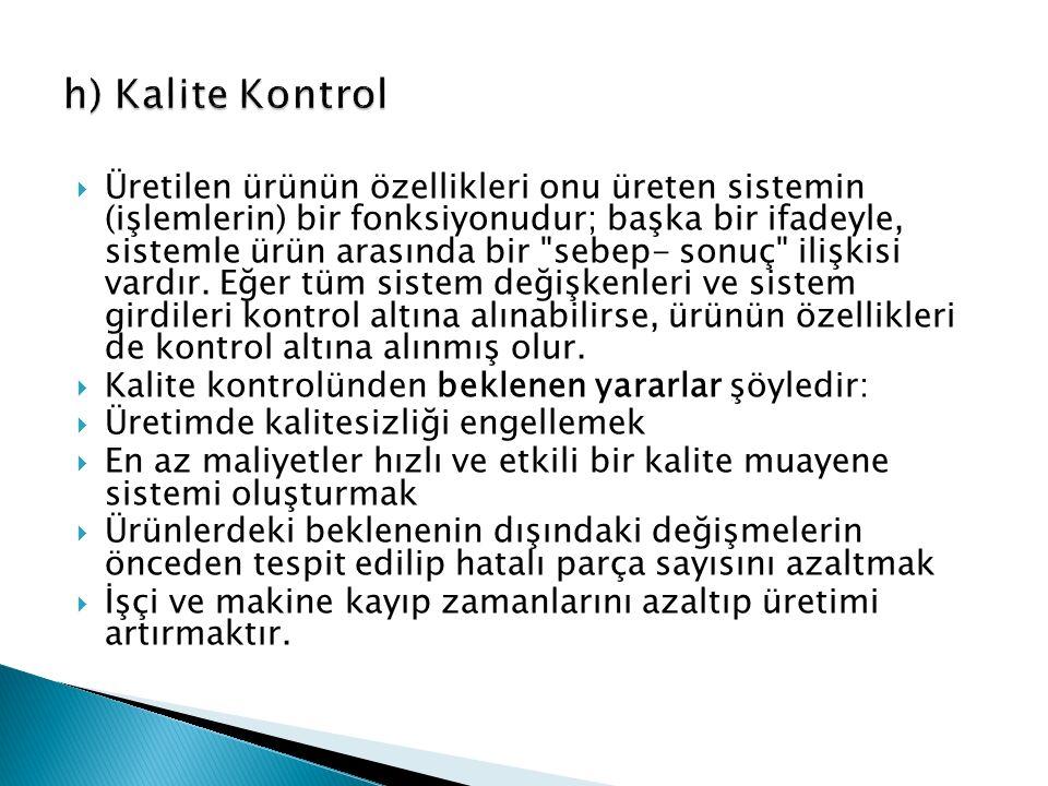 h) Kalite Kontrol