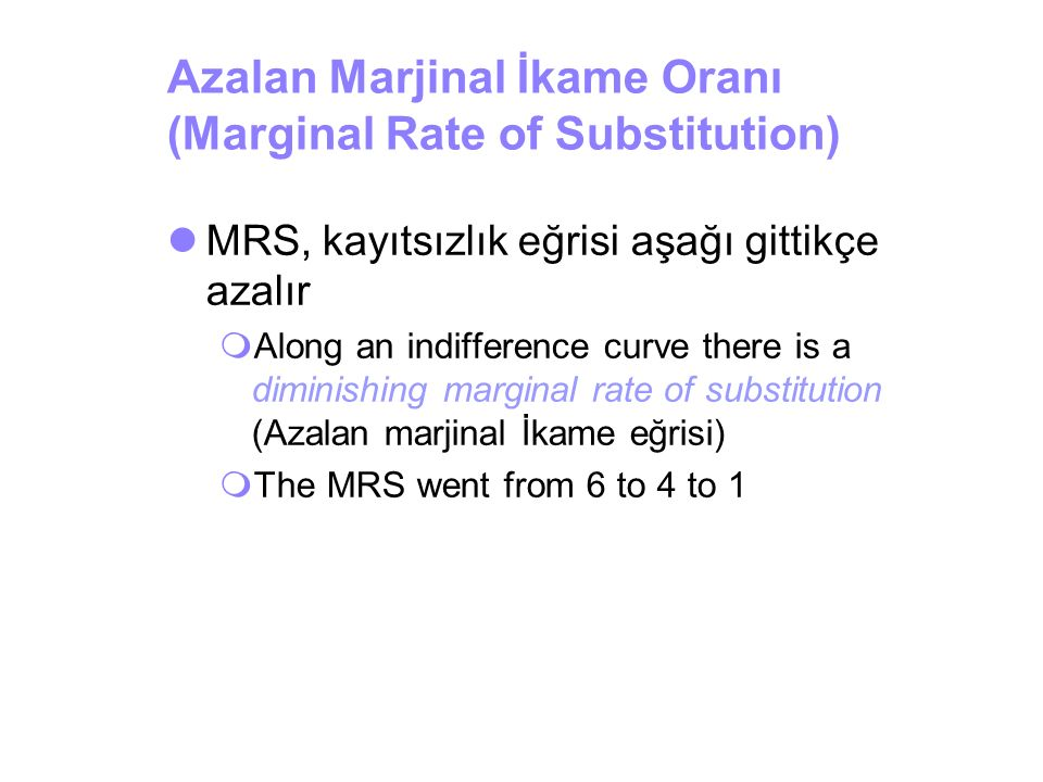 Azalan Marjinal İkame Oranı (Marginal Rate of Substitution)