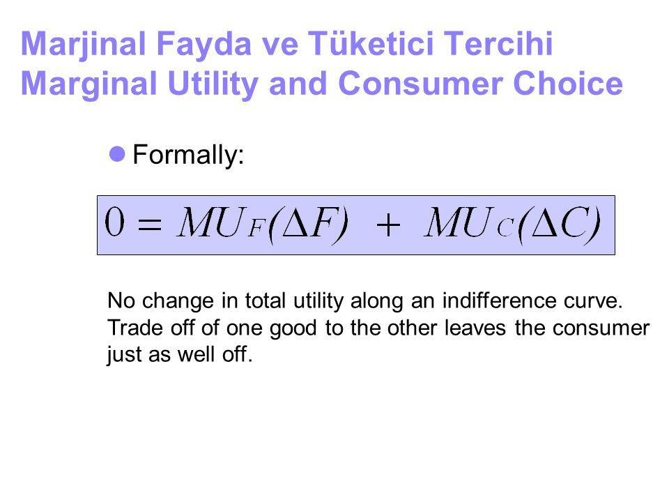 Marjinal Fayda ve Tüketici Tercihi Marginal Utility and Consumer Choice
