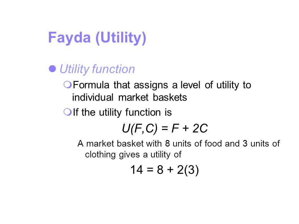 Fayda (Utility) Utility function U(F,C) = F + 2C 14 = 8 + 2(3)