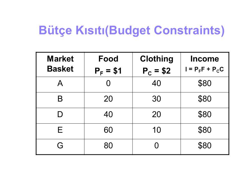 Bütçe Kısıtı(Budget Constraints)