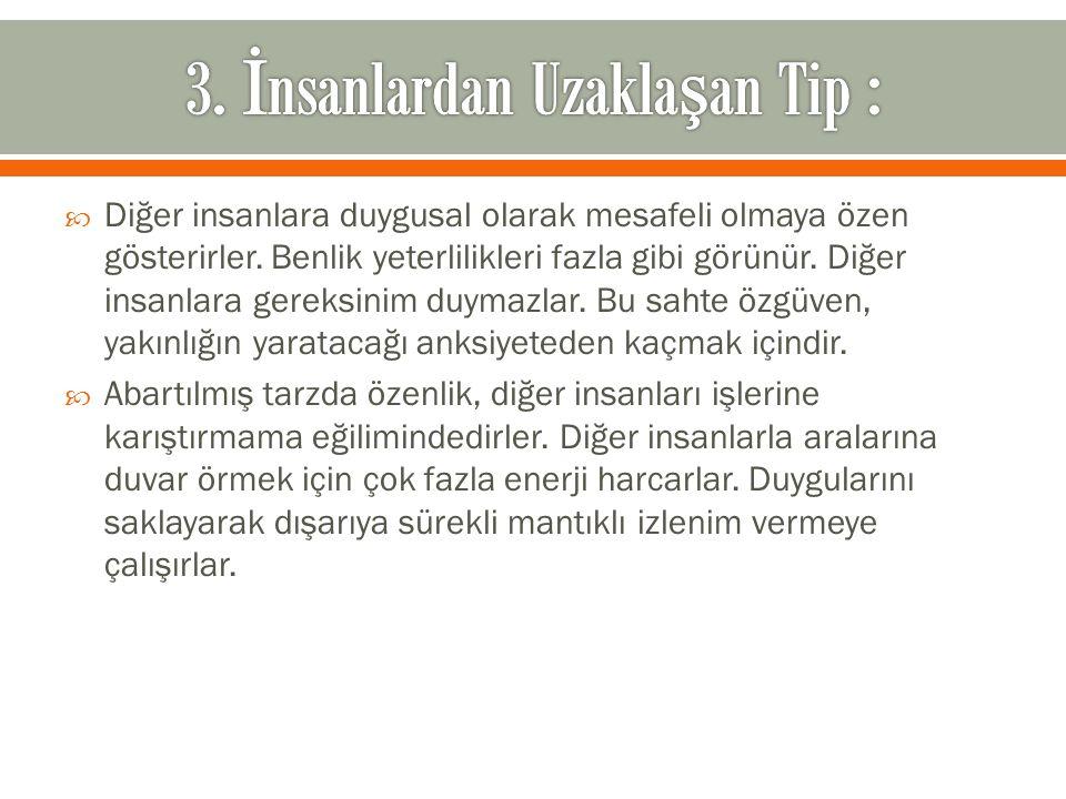 3. İnsanlardan Uzaklaşan Tip :