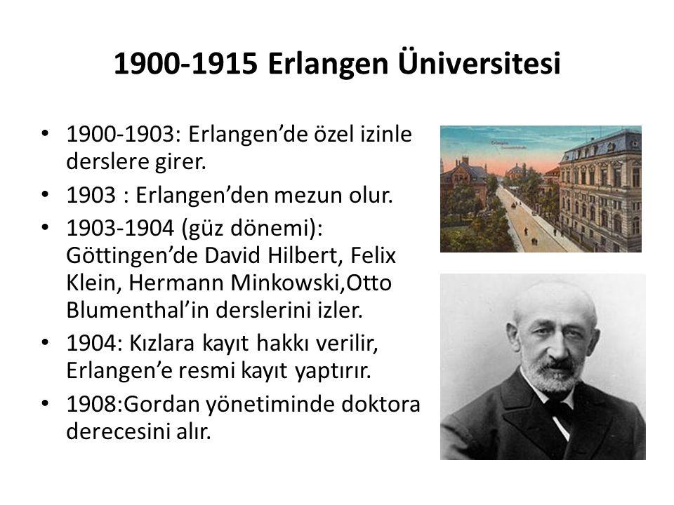 1900-1915 Erlangen Üniversitesi