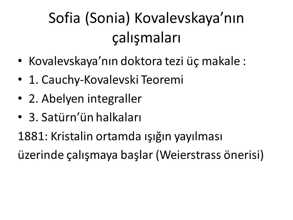 Sofia (Sonia) Kovalevskaya'nın çalışmaları
