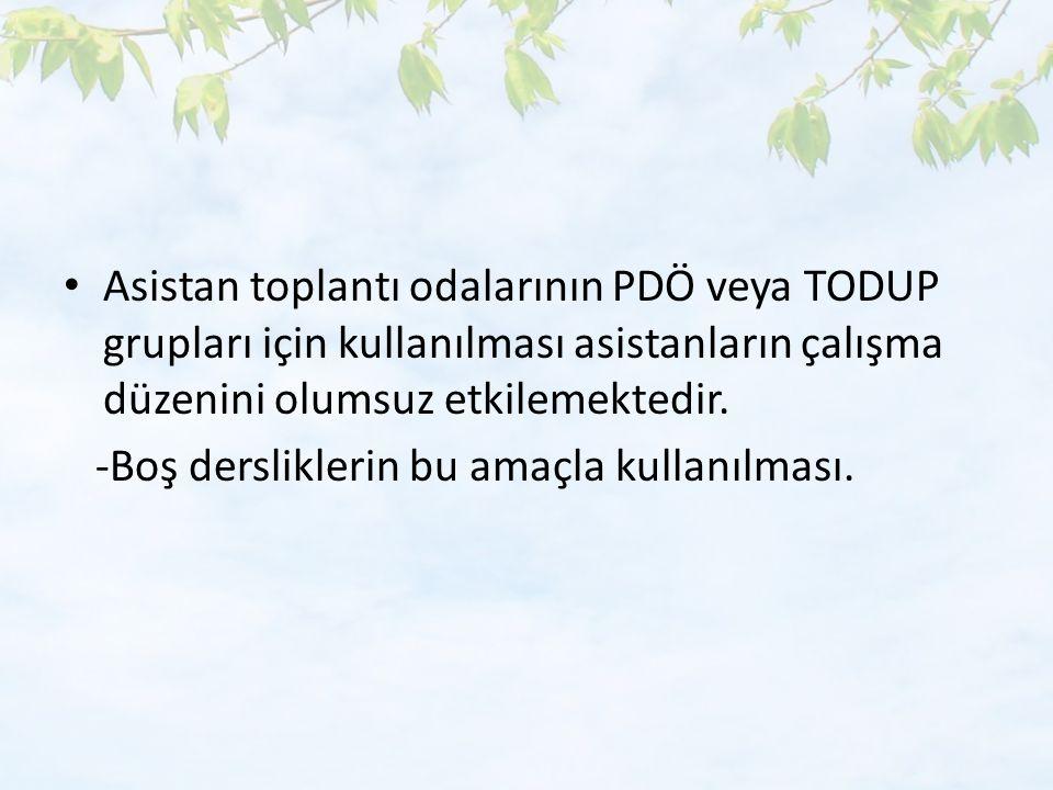 Asistan toplantı odalarının PDÖ veya TODUP grupları için kullanılması asistanların çalışma düzenini olumsuz etkilemektedir.