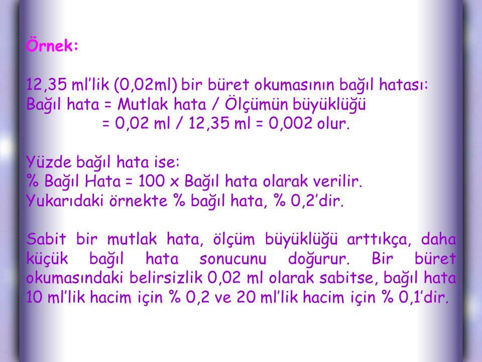 Örnek: 12,35 ml'lik (0,02ml) bir büret okumasının bağıl hatası: Bağıl hata = Mutlak hata / Ölçümün büyüklüğü.