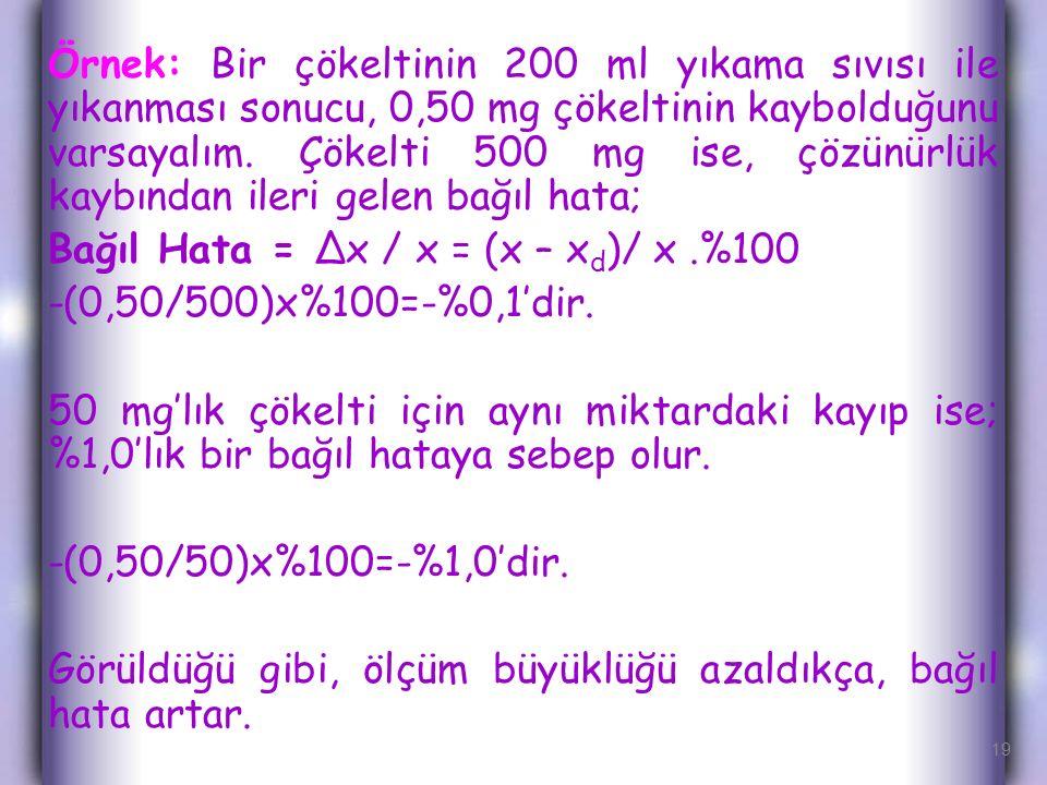 Bağıl Hata = Δx / x = (x – xd)/ x .%100 -(0,50/500)x%100=-%0,1'dir.