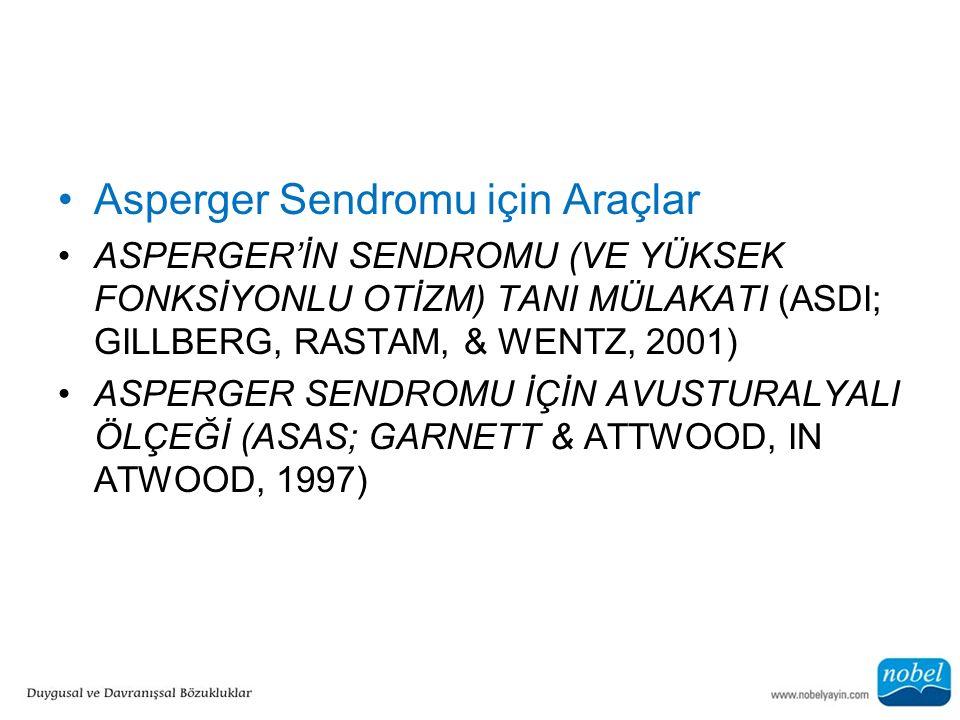 Asperger Sendromu için Araçlar