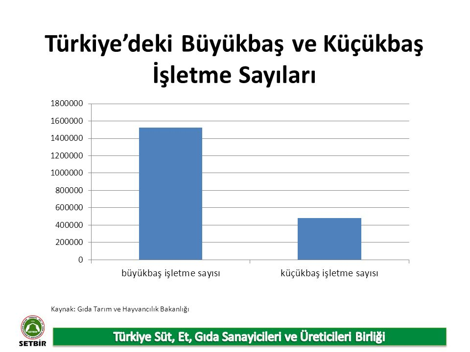 Türkiye'deki Büyükbaş ve Küçükbaş İşletme Sayıları