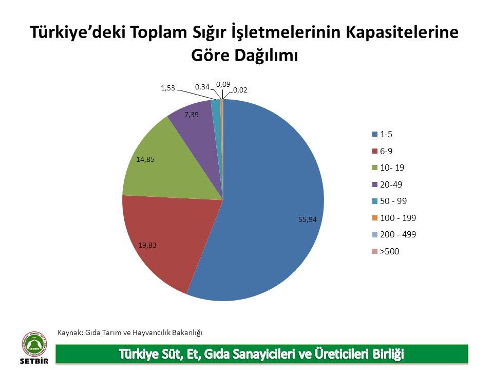 Türkiye'deki Toplam Sığır İşletmelerinin Kapasitelerine Göre Dağılımı