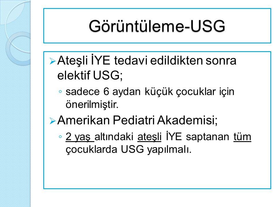 Görüntüleme-USG Ateşli İYE tedavi edildikten sonra elektif USG;