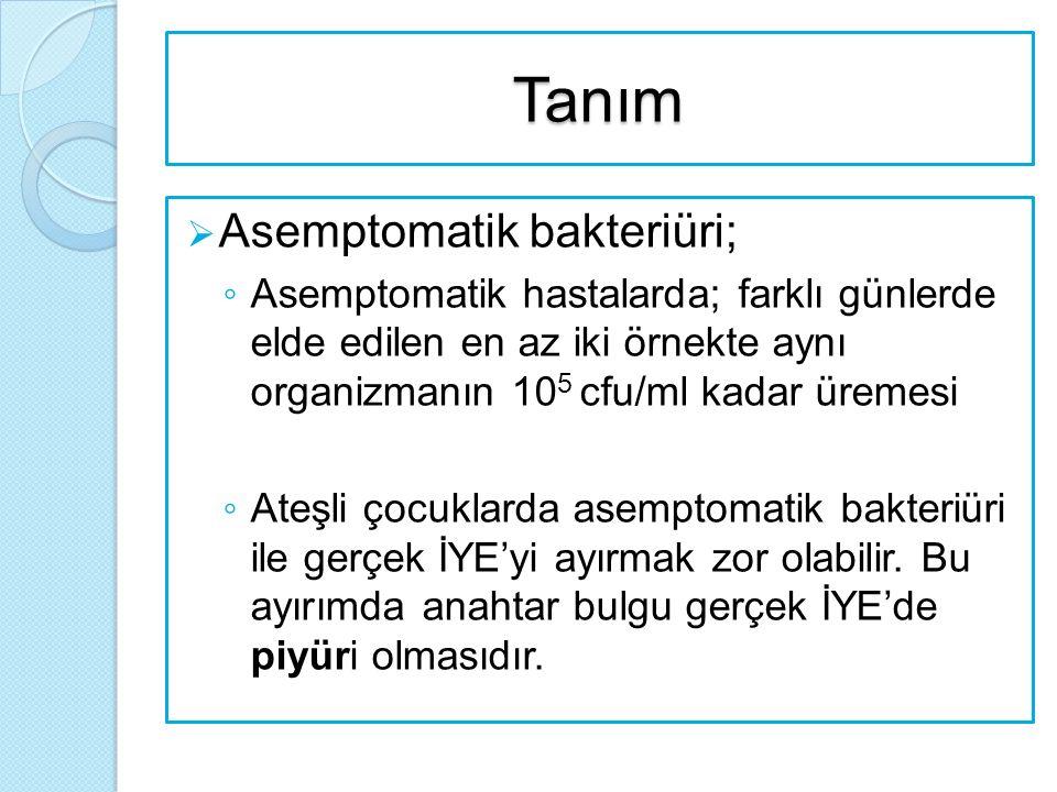 Tanım Asemptomatik bakteriüri;