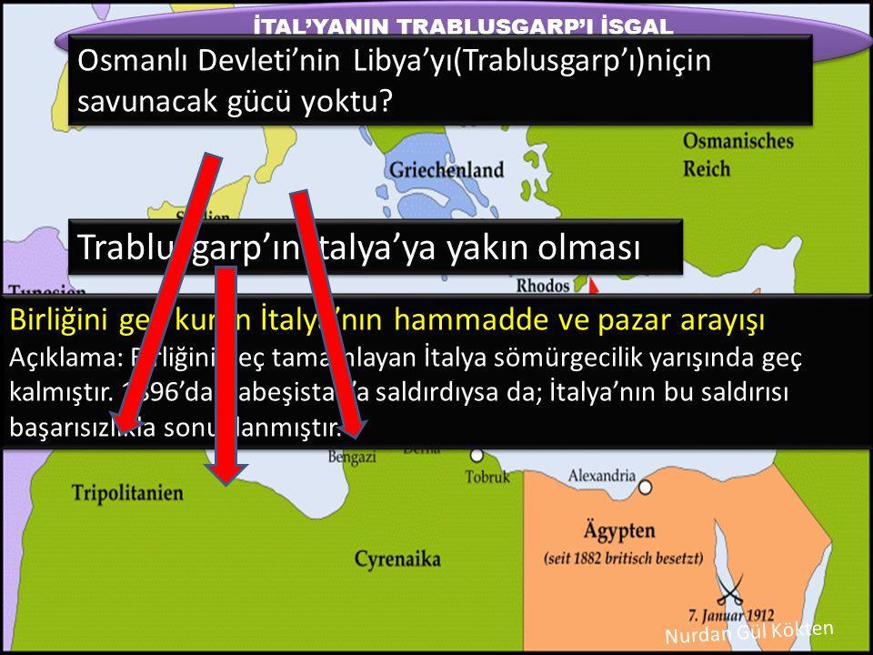 İTAL'YANIN TRABLUSGARP'I İŞGAL ETMESİNİN SEBEPLERİ NELER OLABİLİR