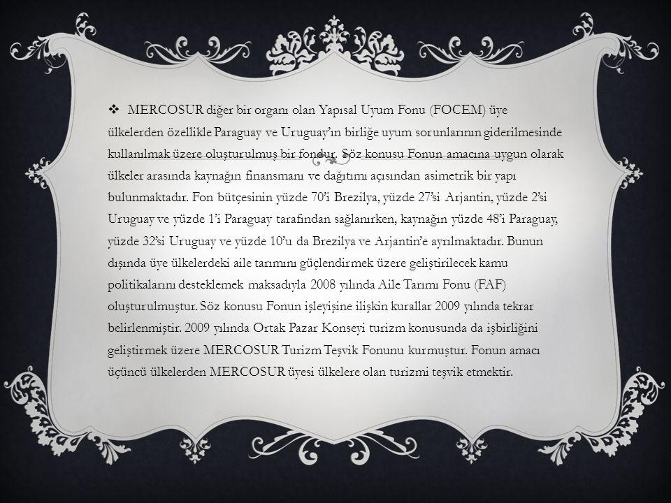 MERCOSUR diğer bir organı olan Yapısal Uyum Fonu (FOCEM) üye ülkelerden özellikle Paraguay ve Uruguay'ın birliğe uyum sorunlarının giderilmesinde kullanılmak üzere oluşturulmuş bir fondur.