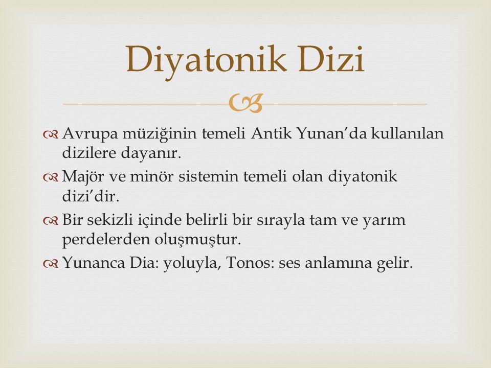 Diyatonik Dizi Avrupa müziğinin temeli Antik Yunan'da kullanılan dizilere dayanır. Majör ve minör sistemin temeli olan diyatonik dizi'dir.
