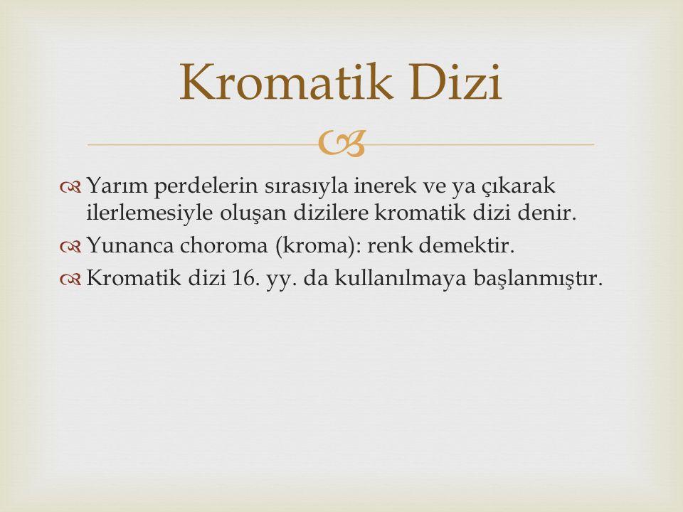 Kromatik Dizi Yarım perdelerin sırasıyla inerek ve ya çıkarak ilerlemesiyle oluşan dizilere kromatik dizi denir.