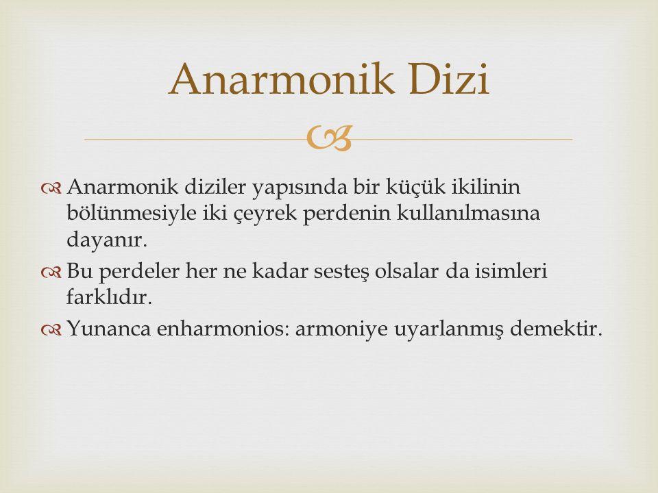 Anarmonik Dizi Anarmonik diziler yapısında bir küçük ikilinin bölünmesiyle iki çeyrek perdenin kullanılmasına dayanır.