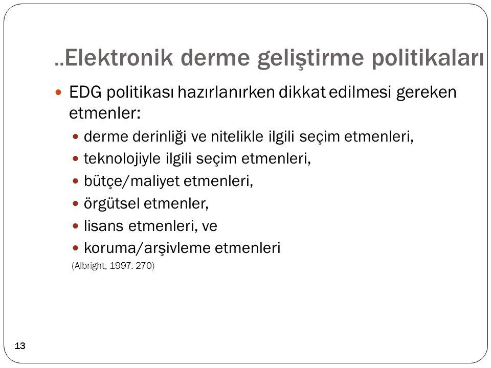 ..Elektronik derme geliştirme politikaları