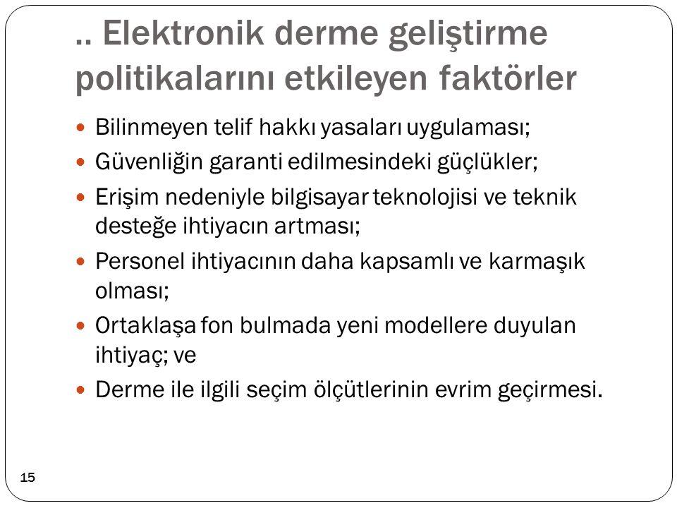.. Elektronik derme geliştirme politikalarını etkileyen faktörler