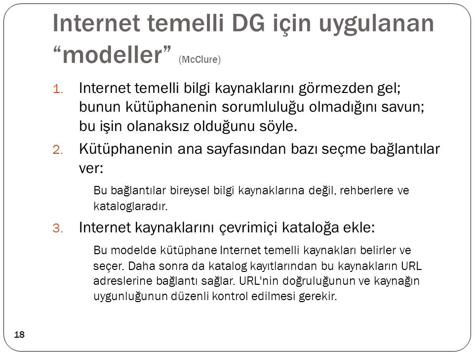 Internet temelli DG için uygulanan modeller (McClure)