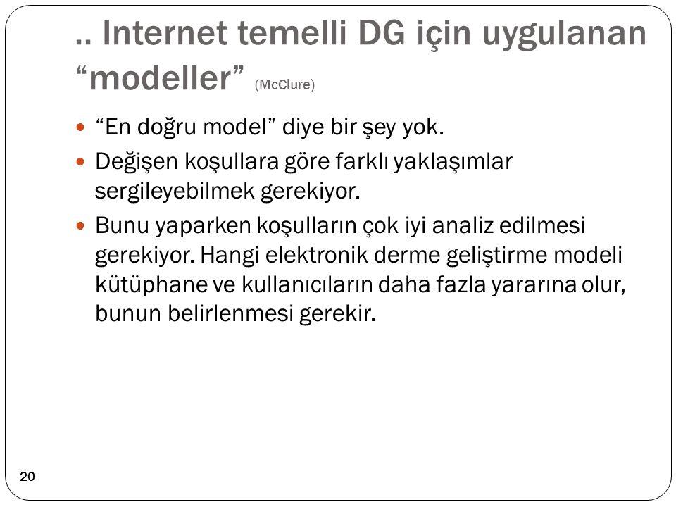 .. Internet temelli DG için uygulanan modeller (McClure)