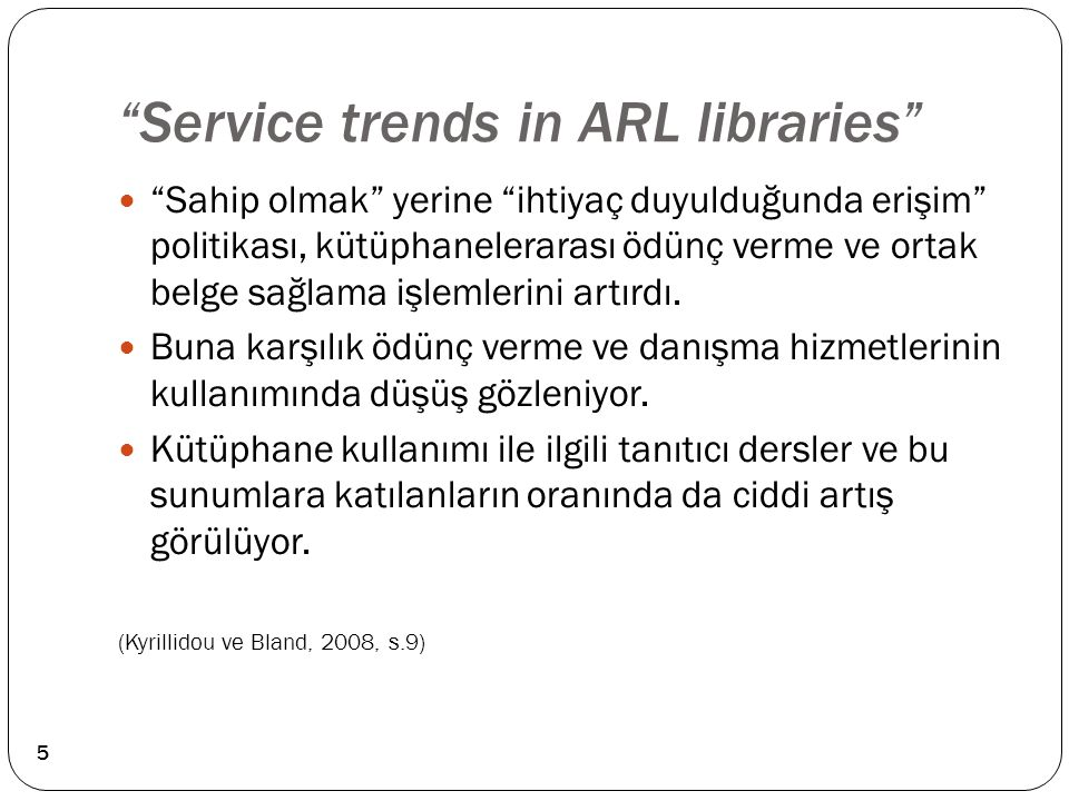 Service trends in ARL libraries