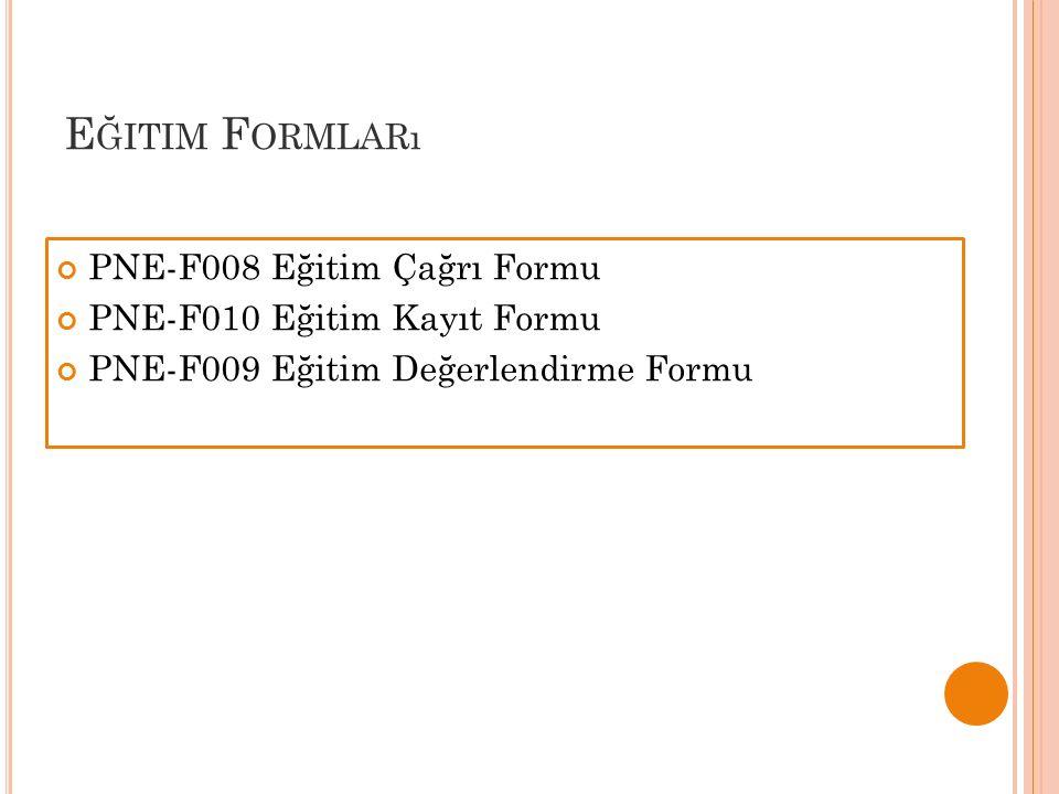 Eğitim Formları PNE-F008 Eğitim Çağrı Formu