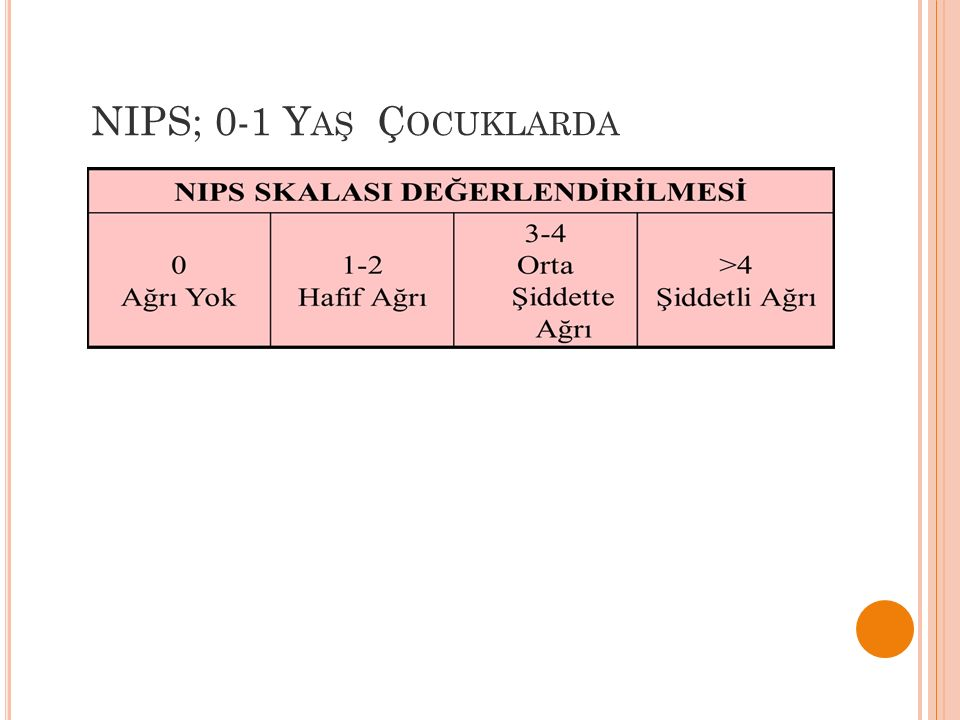 NIPS; 0-1 Yaş Çocuklarda