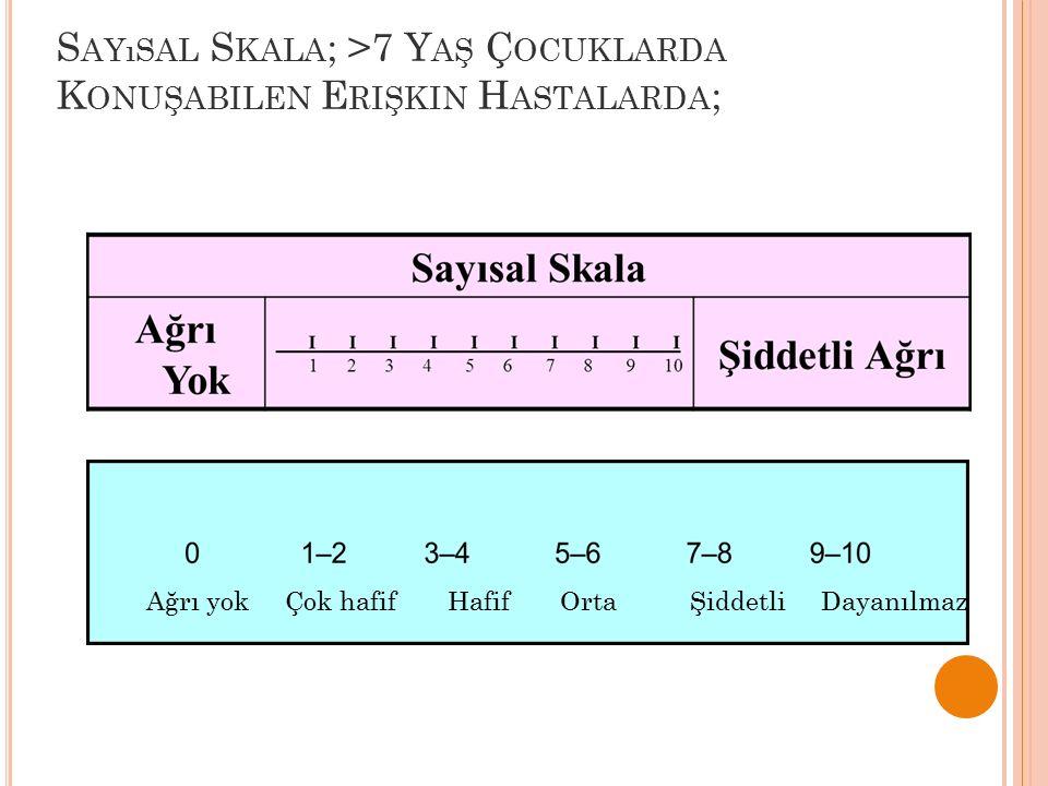 Sayısal Skala; >7 Yaş Çocuklarda Konuşabilen Erişkin Hastalarda;