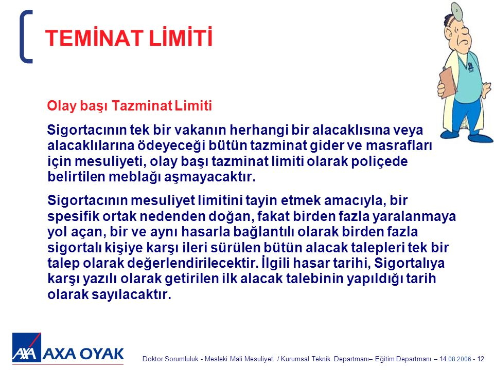 TEMİNAT LİMİTİ Olay başı Tazminat Limiti