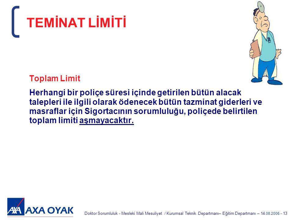 TEMİNAT LİMİTİ Toplam Limit