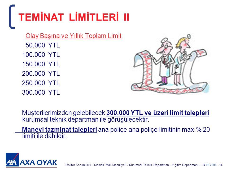 TEMİNAT LİMİTLERİ II Olay Başına ve Yıllık Toplam Limit 50.000 YTL